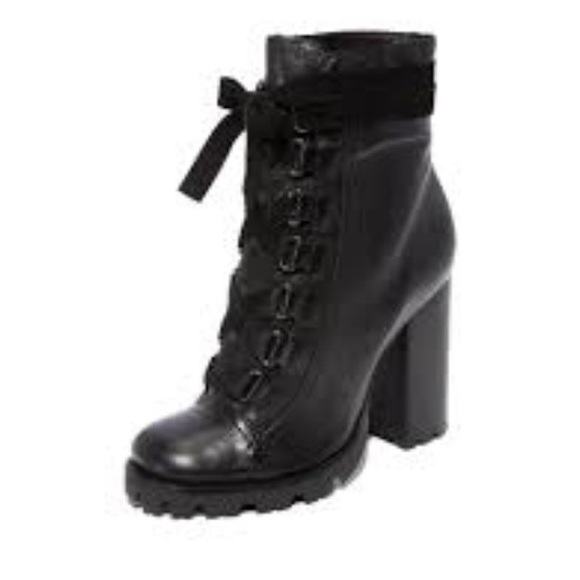Schutz Woman Lace-up Leather Ankle Boots Dark Size 7.5